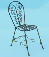small decorative hand forged scrolled chair
