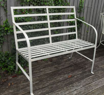 Riveted effect old style bench with reeded effect slats