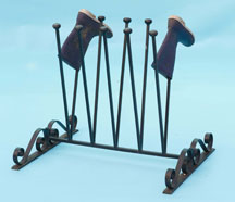 Fancy boot stand with hand forged scrolls - 5 pairs